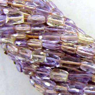 Ametrine 5-6mm Faceted Bricks Shape Beads Strand