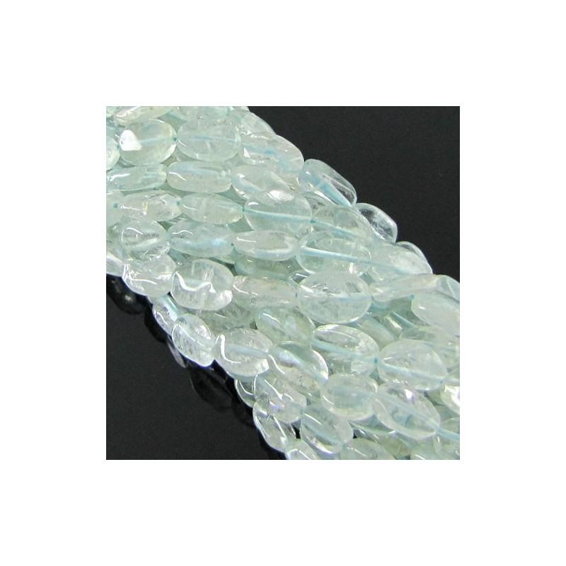 Aquamarine 8-10mm Smooth Oval Shape Beads Strand