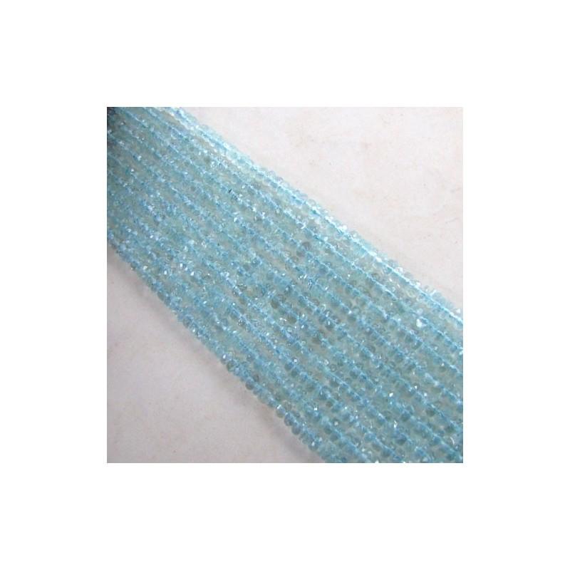 Aquamarine 3-3.5mm Faceted Rondelle Shape Beads Strand