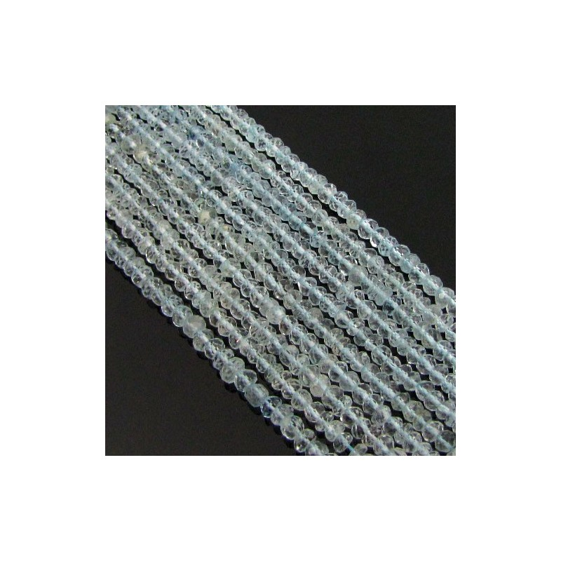 Aquamarine 3-3.5mm Hand Cut Rondelle Shape Beads Strand
