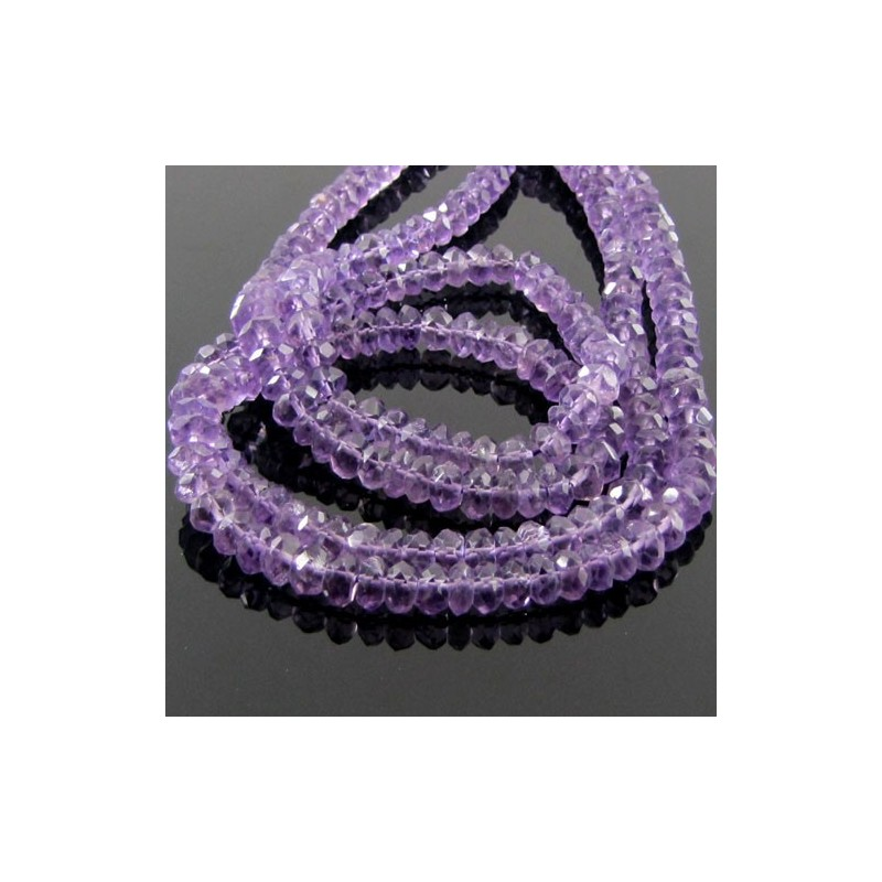Brazilian Amethyst 5-5.5mm Faceted Rondelle Shape Beads Strand