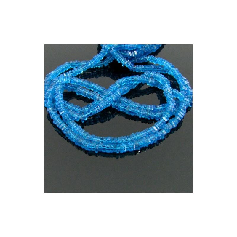 Neon Blue Apatite 4-5mm Smooth Heishi Cube Shape Beads Strand