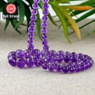 African Amethyst 6-11.5mm Faceted Rondelle Shape 18 Inch Long Gemstone Beads Strand - SKU:157145