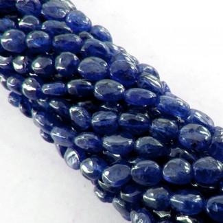 Blue Sapphire 7-8mm Smooth Oval Shape Beads Strand
