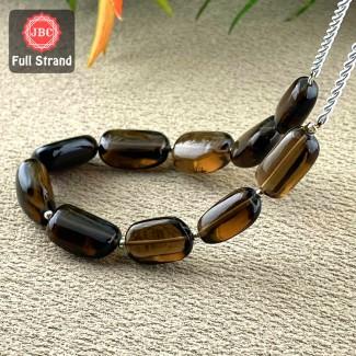 Smoky Quartz 15.5-19.5mm Smooth Nuggets Shape 8 Inch Long Gemstone Beads Strand - SKU:157287