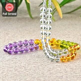 Multi Stones 6mm Smooth Round Shape 17 Inch Long Gemstone Beads Strand - SKU:157263