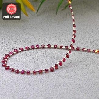 Pink Tourmaline 4-5.5mm Briolette Pear Shape 9 Inch Long Gemstone Beads Layout - SKU:157280