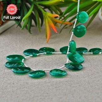 Green Onyx 20-27mm Checkerboard Pear Shape 12 Inch Long Gemstone Beads Layout - SKU:157332