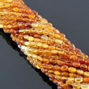 Hessonite Garnet 4-5mm Smooth Oval Shape Beads Strand