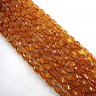 Hessonite Garnet 6-7mm Faceted Oval Shape Beads Strand