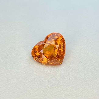 7.57 Cts. Spessartite Garnet 10.58x12.35mm Old Cut Heart Shape Single Gem Piece (1 Pc.)