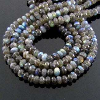 Labradorite 6-6.5mm Faceted Rondelle Shape Beads Strand