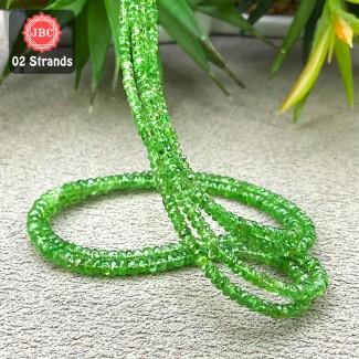 Tsavorite Garnet 2.5-4mm Faceted Rondelle Shape 16 Inch Long Gemstone Beads - Total 2 Strands In The Lot - SKU:157446