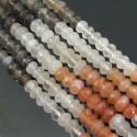 Multi Moonstone 6-6.5mm Faceted Rondelle Shape Beads Strand
