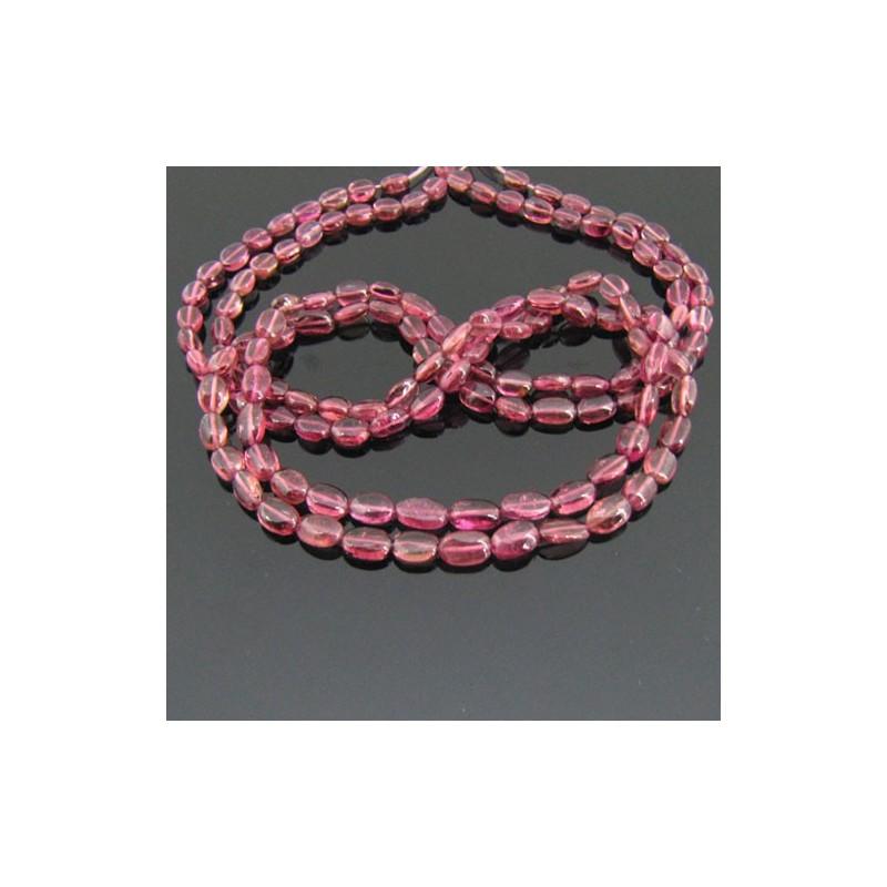 Pink Tourmaline 4-5mm Smooth Oval Shape Beads Strand