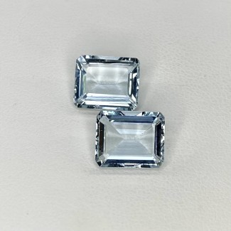 7.31 Cts. Aquamarine 11x9mm Step Cut Octagon Shape Loose Gemstone - Total 2 Pcs. - SKU:157792