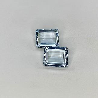 8.38 Cts. Aquamarine 11x9mm Step Cut Octagon Shape Loose Gemstone - Total 2 Pcs. - SKU:157795