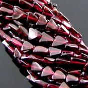 Garnet 8-10mm Smooth Triangle Shape Beads Strand