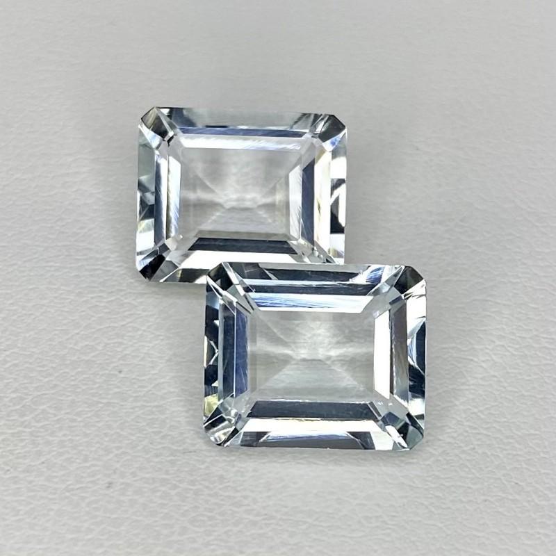 11.16 Cts. Aquamarine 12x10mm Step Cut Octagon Shape Matched Gems Pair - Total 2 Pcs. - SKU:157786