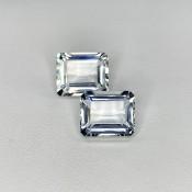 11.65 Cts. Aquamarine 12x10mm Step Cut Octagon Shape Matched Gems Pair - Total 2 Pcs. - SKU:157787