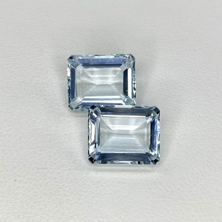 8.28 Cts. Aquamarine 11x9mm Step Cut Octagon Shape Matched Gems Pair - Total 2 Pcs. - SKU:157788