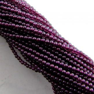Garnet 2-2.5mm Smooth Round Shape Beads Strand
