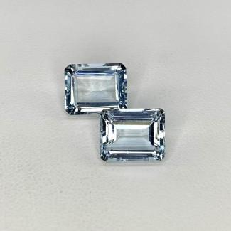 8.37 Cts. Aquamarine 11x9mm Step Cut Octagon Shape Matched Gems Pair - Total 2 Pcs. - SKU:157794
