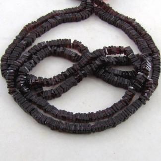 Garnet 4-5mm Smooth Heishi Cube Shape Beads Strand