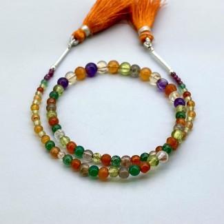 Multi Stones 2-5mm Smooth Round Shape 11 Inch Long Gemstone Beads Strand - SKU:157762