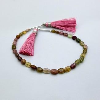 Multi Stones 5-7mm Smooth Oval Shape 8 Inch Long Gemstone Beads Strand - SKU:157740