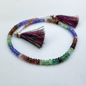 Multi Stones 4-6mm Faceted Rondelle Shape 11 Inch Long Gemstone Beads Strand - SKU:157737