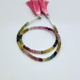 Multi Tourmaline 3-3.5mm Faceted Rondelle Shape 11 Inch Long Gemstone Beads Strand - SKU:157739