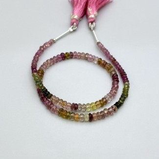 Multi Tourmaline 3-4mm Faceted Rondelle Shape 11 Inch Long Gemstone Beads Strand - SKU:157733