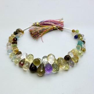 Multi Stones 6-15.5mm Briolette Drops Shape 7 Inch Long Gemstone Beads Strand - SKU:157748