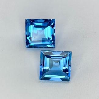 11.60 Cts. Swiss-Blue Topaz 10mm Step Cut Square Shape Loose Gemstone - Total 2 Pcs. - SKU:158033