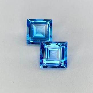 12.45 Cts. Swiss-Blue Topaz 10mm Step Cut Square Shape Loose Gemstone - Total 2 Pcs. - SKU:158020