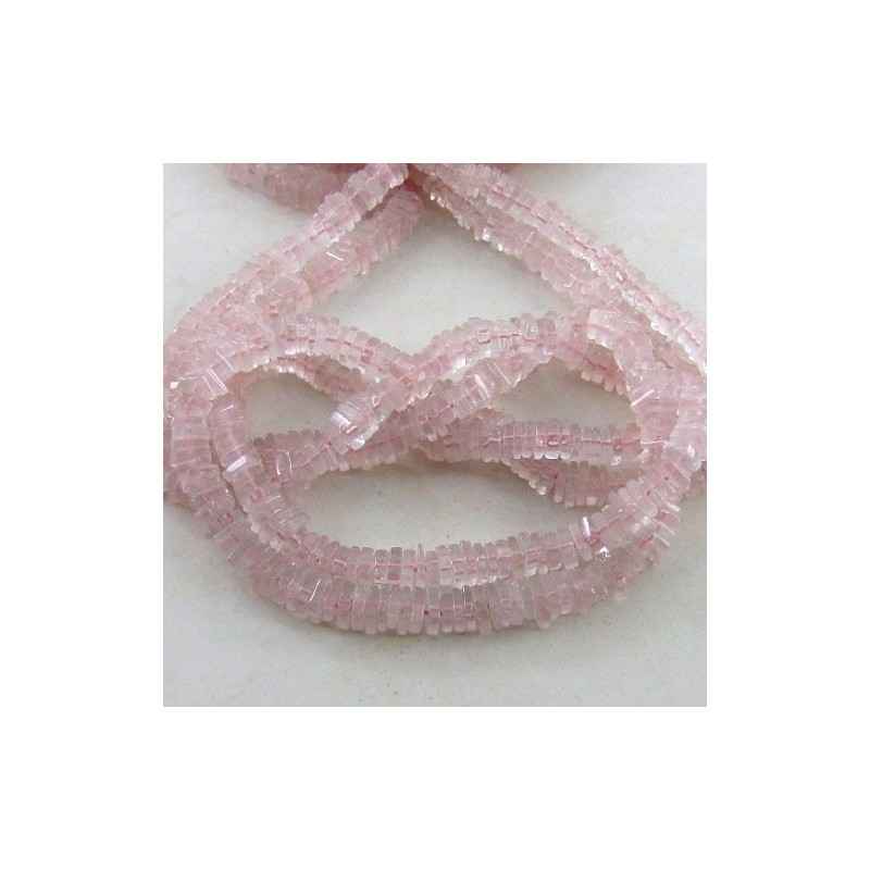 Rose Quartz 5-6mm Smooth Heishi Cube Shape Beads Strand