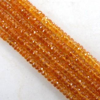 Spessartite Garnet 4-4.5mm Faceted Rondelle Shape Beads Strand