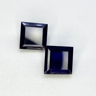 5.40 Cts. Iolite 9mm Step Cut Square Shape Loose Gemstone - Total 2 Pcs. - SKU:158018