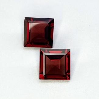 9.85 Cts. Garnet 10mm Step Cut Square Shape Loose Gemstone - Total 2 Pcs. - SKU:158021