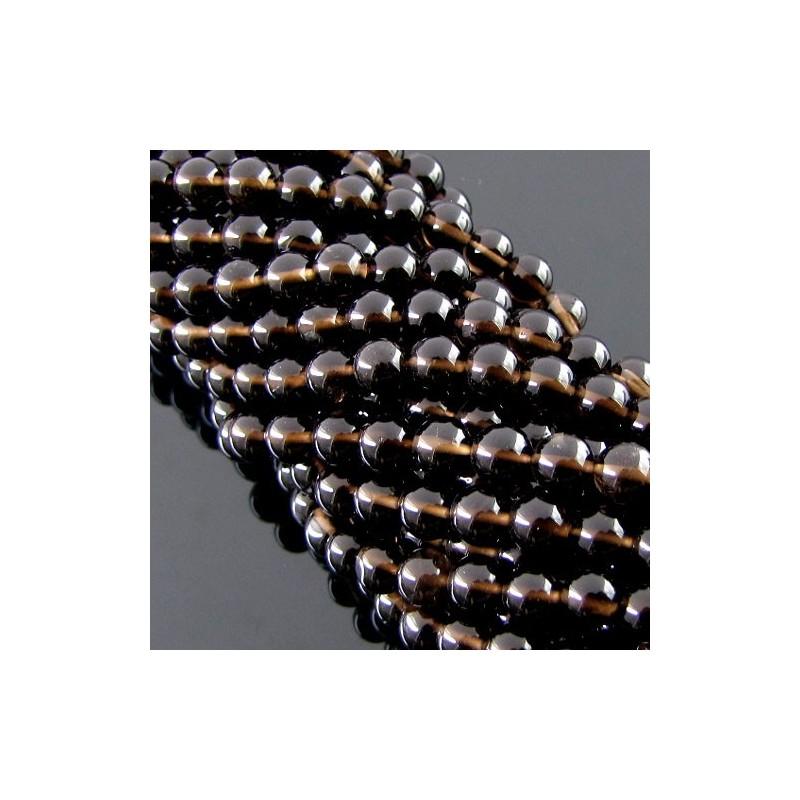 Smoky Quartz 6-6.5mm Smooth Round Shape Beads Strand