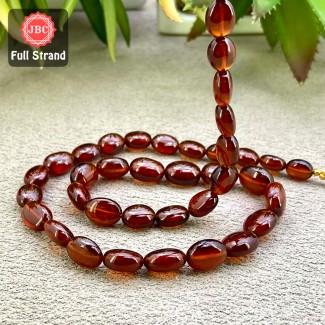 Hessonite Garnet 9-12mm Smooth Oval Shape 16 Inch Long Gemstone Beads Strand - SKU:158037