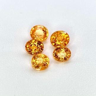 5.91 Cts. Spessartite Garnet 5.81X530mm Regular Cut Oval Shape Loose Gemstone - Total 5 Pcs. - SKU:157665