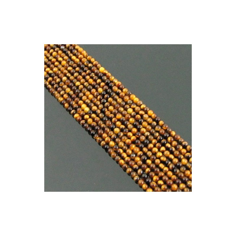 Tiger Eye 2-2.5mm Smooth Round Shape Beads Strand