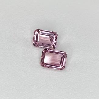 3.04 Cts. Pink Tourmaline 8x6mm Step Cut Octagon Shape Matched Gems Pair - Total 2 Pcs. - SKU:157913