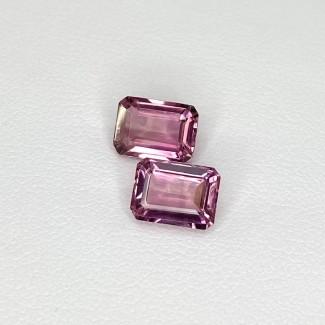 3.35 Cts. Pink Tourmaline 8x6mm Step Cut Octagon Shape Matched Gems Pair - Total 2 Pcs. - SKU:157920