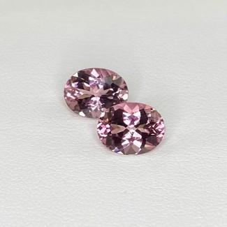3.58 Cts. Pink Tourmaline 9x7mm Regular Cut Oval Shape Matched Gems Pair - Total 2 Pcs. - SKU:157940