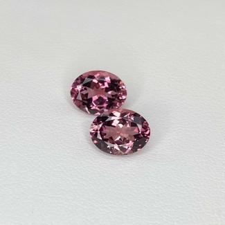 3.86 Cts. Pink Tourmaline 9x7mm Regular Cut Oval Shape Matched Gems Pair - Total 2 Pcs. - SKU:157945
