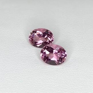 3.92 Cts. Pink Tourmaline 9x7mm Regular Cut Oval Shape Matched Gems Pair - Total 2 Pcs. - SKU:157934