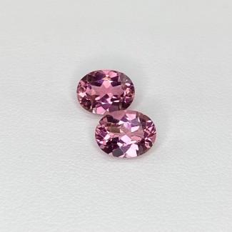 3.94 Cts. Pink Tourmaline 9x7mm Regular Cut Oval Shape Matched Gems Pair - Total 2 Pcs. - SKU:157949